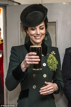 The Duchess of Cambridge celebrated St Patrick's Day with a pint of Guinness today in Houn...
