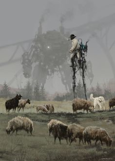 'shepherd'new painting from my 1920+ universe, yes it is a shepherd on the mechanical stilts :) cheers!