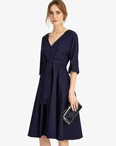 Phase Eight Taylor Tie Front Dress Blue