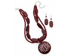 Beautiful Garnet Etched Necklace $20.00 with Free Shipping. Email us at ddpmonogramsandgifts@Hotmail.com to place an order