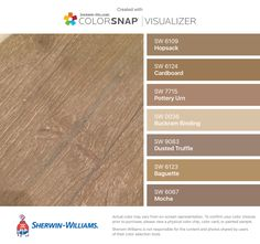 I found these colors with ColorSnap® Visualizer for iPhone by Sherwin-Williams: Hopsack (SW Cardboard (SW Pottery Urn (SW Buckram Binding (SW Dusted Truffle (SW Baguette (SW Mocha (SW Pottery Barn Furniture, Sunroom Furniture, Outdoor Wood Stain, Wall Colors, Paint Colors, Sherwin Williams Stain, Dark Brown Furniture, Semi Transparent Stain, Cardboard Painting