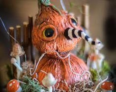 Vintage Halloween Inspired Glowing Mushroom Paper Mache Hand Sculpted JOL Pumpkin Decor Folk Art Prim