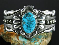 Thomas Jim Apache Blue Spiderweb Turquoise Cuff