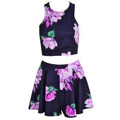 Floral Printed Pants Set Casual Halter Off-shoulder Backless Crop Tops And Shorts