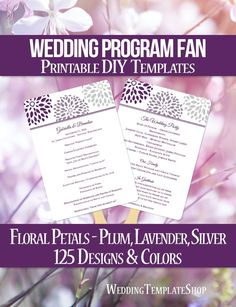 DIY Printable Wedding Program Fan template shown here in the Floral Petals design series in plum, lavender and silver. All wording is 100% editable by you within Word. Easy to edit & print.