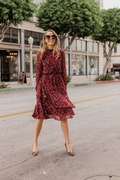 burgundy floral dress and leopard pumps | merrickart.com