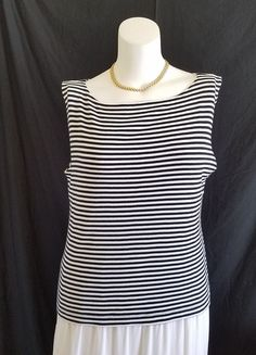 Chico's Design Knit Top Tunic Size 3 XL Boat Neck Sleeveless Black White Stripes #Chicos #KnitTop #Versatile