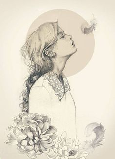 beautiful drawing of a girl with flowers