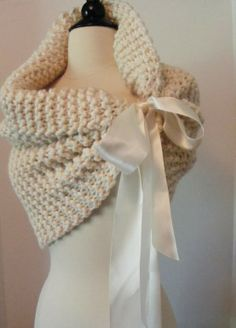 Beautiful Half White Bolero Scarf knitted in Garter with lovely satin ribbon