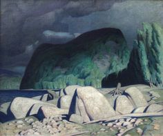 """""""Aftermath,"""" A.J. Casson, 1944, oil on canvas, 30 x 36"""", Mayberry Fine Art."""