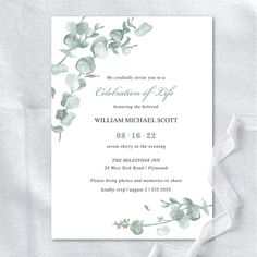 The funeral invitation celebrates the life of your loved one who has passed with the elegance of watercolor eucalyptus. Perfect for a funeral, memorial service or celebration of life event.