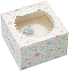Cupcake box for 1 cake with pretty floral teatime design, perfect for presenting individual cupcakes, fairy cakes and  muffins in a decorative box with an insert to hold cake in place. Large acetate window to view contents.      Size: 11.5cm x 11.5cm x 7.5cm     Bagged with header card.     Pack of 4 boxes.