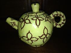 Glazed scraffitoed teapot