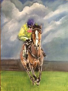 "Saatchi Art Artist David Tarrant; Painting, ""Kauto star oil painting equesterian  equine horse racing"" #art"