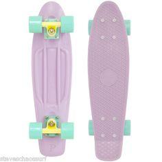 Genuine Penny Skateboard Pastels Original Cruiser 22 IN Mint Lemon Lilac Girls Penny Skateboard, Skateboard Design, Skateboard Girl, Complete Skateboards, Cool Skateboards, Vintage Skateboards, Pastel Penny Board, Skate Girl, Skate Style