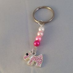 Dog keychain in pink theme complete with pink by BrowniesCRAFTBOX