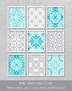 Printable Art Gallery Wall Prints Turquoise by inkandnectardigital