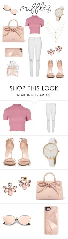 """""""Add Some Flair: Ruffled Tops"""" by torienicolle ❤ liked on Polyvore featuring Topshop, River Island, Stuart Weitzman, Marchesa, Mansur Gavriel, Rebecca Minkoff, Guerlain and ruffledtops"""