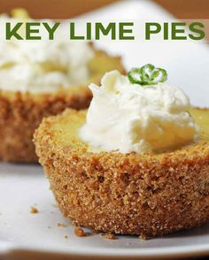 Break Out Your Baking Skills And Make These Amazingly Tasty Mini Key Lime Pies. Try this using home made sweetened condensed milk and pasteurized egg yolks for a no bake dessert. Key Lime Desserts, Mini Desserts, Just Desserts, Delicious Desserts, Yummy Food, Plated Desserts, Cupcakes, Cupcake Cakes, Muffin Cupcake