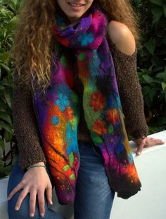 Felted colorful scarf women's scarf felted multicolor von Petradi