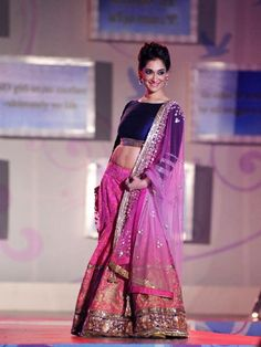 Blue and pink lengha. Manish Malhotra Fashion Show for 'Save & Empower Girl Child' Fashion Week, Fashion Models, Fashion Show, Fashion Trends, Bollywood Lehenga, Bollywood Fashion, Indian Attire, Indian Wear, Indian Style