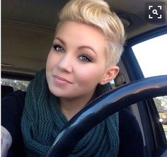 Gorgeous short blond pixie cut with shaved sides