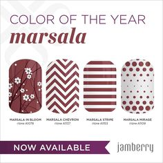 Marsala is the 2015 colour of the year! Check out these beautiful Marsala Jamberry nail wraps! http://stephaw.jamberrynails.net #jamberry #marsala