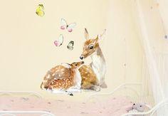 Deer Family Mother Deer and Fawn Butterflies Wall by kokokoshop