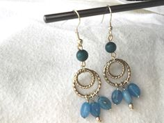 Blue and Silver Hoops Dangle Earrings by MaggiMakesIt on Etsy