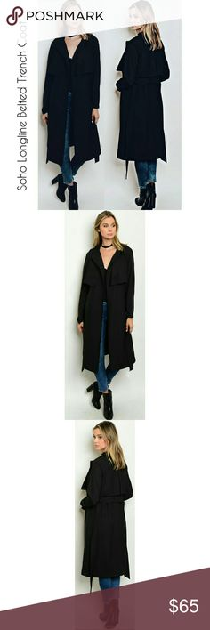 """NEW! Black Soho Longline Belted Trench Coat Duster If there's one essential piece of clothing every woman should own, it is a chic black trench coat.   Soho Longline Belted Trench Coat Duster   High Quality Fabric Exquisite Detailing /shoulders/wrists  100% Polyester L: 45"""" W: 40"""" Size availability: SMALL & MEDIUM  *Small Fits XS-S  *Medium Fits S/M New in package   Price is Firm  No Trades  Fast Shipping Moda Ragazza  Jackets & Coats Trench Coats"""