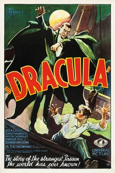 1931 Pre-Code Dracula poster.  One of four known to exist with a current auction bid of 80 grand.  The strangest passion ever known!