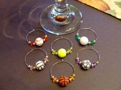 Set of 7 Beaded WINE Glass CHARMS Featuring SPORTS Theme