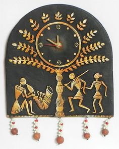 Battery Operated Wall Clock in a Terracotta Plate with Tribal Figures - Wall Hanging (Terracotta) Worli Painting, Clock Painting, Clock Art, Clocks, Clay Wall Art, Mural Wall Art, Hanging Wall Art, Wall Hangings, Murals