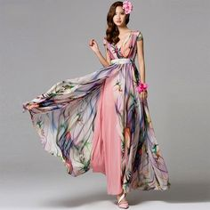 Bohemia Style V Neck High Waist Chiffon Beach Dresses