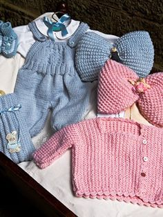 Baby Milk Romper Suit, Side-buttoned Jacket, Bottle Cover, Pink & Blue Bows from Laines du Nord