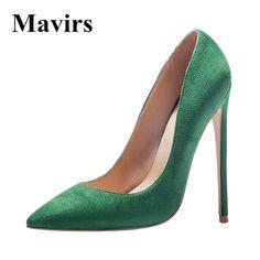 MAVIRS Brand Women Pumps 2018 Spring Extreme High Heels Pointed Toe  Stiletto Black Green Sapato Feminino Shoes US Size Price history. a3fa5d6c2990