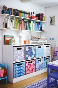 Short bookcase and shelves for playroom