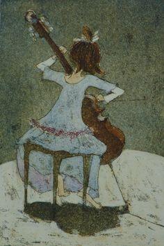 "Helmi Koiviola: ""Sellosoolo"" Dance Music, Art Music, Cello Art, Doodle Drawings, Children's Book Illustration, Woman Painting, Female Art, Watercolor Art, Art For Kids"