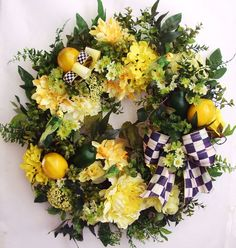 Spring Wreath, Summer Wreath, Mother's Day Wreath, Lemon wreath, Mackenzie Childs Ribbon Wreath