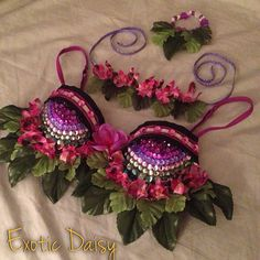 Jungle goddess rave bra on Etsy, $60.00 Could use for Poison Ivy costume
