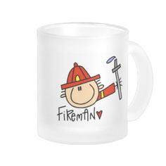 "If your profession is that of a firefighter, you'll love this colorful Fireman glass mug featuring a male stick figure fire fighter and text that reads ""Fireman"" . It's a great gift for a firefighter! #fireman #firefighter #fire #man #fire #fighter #occupation #emergency #rescue #911 #firefighter #gifts #professions #peacockcards #unioneight #union #eight #stick #figures"