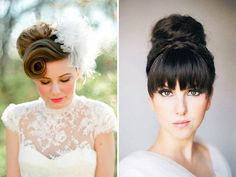 bridal hairstyles with fringes - Read more on One Fab Day: http://onefabday.com/wedding-hairstyles-with-fringes/