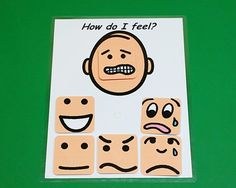 Use this 8x11 PECS board to help your student or child learn about their own emotions and the emotions of others.This board comes with 6 interactive emotion faces that velcro onto the face background. You can use this visual aid to communicate with your child or student about how they feel and help them identify their own emotions. You will receive one chart (either light skin tone or medium skin tone, your choice). All interactive faces store on the chart by attaching velcro. Emotions…