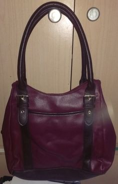 6b9f406e5eb4b Treviso Imitation Leather Purse. Purple. Brown Handles   Trim. Handbag   Treviso  ShoulderBag