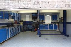 Blue Moduline cabinets in home garage