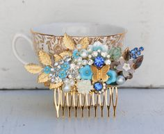 Bridal HAIR COMB Gold Vintage Hair Accessory by redtruckdesigns, $95.75