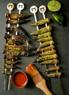 grilled okra with red curry dressing