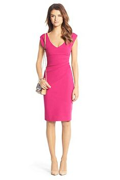 Bevin Ruched Sheath Dress In Pink Dhalia