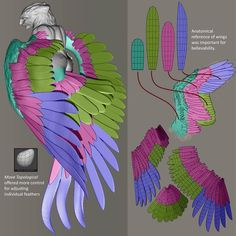 I created a guide for where I wanted my final feathers to be placed Tutorial Zbrush, 3d Tutorial, 3d Model Character, Character Modeling, Character Art, Sculpting Tutorials, Art Tutorials, Painting Tutorials, Design Reference