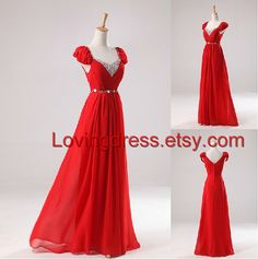 Cheap Bridesmaide Dress/Sweetheart Neckline/Cap Sleeves/Floor Length chiffon  Bridesmaid dresses /Cheap Red Prom/Ivory Prom